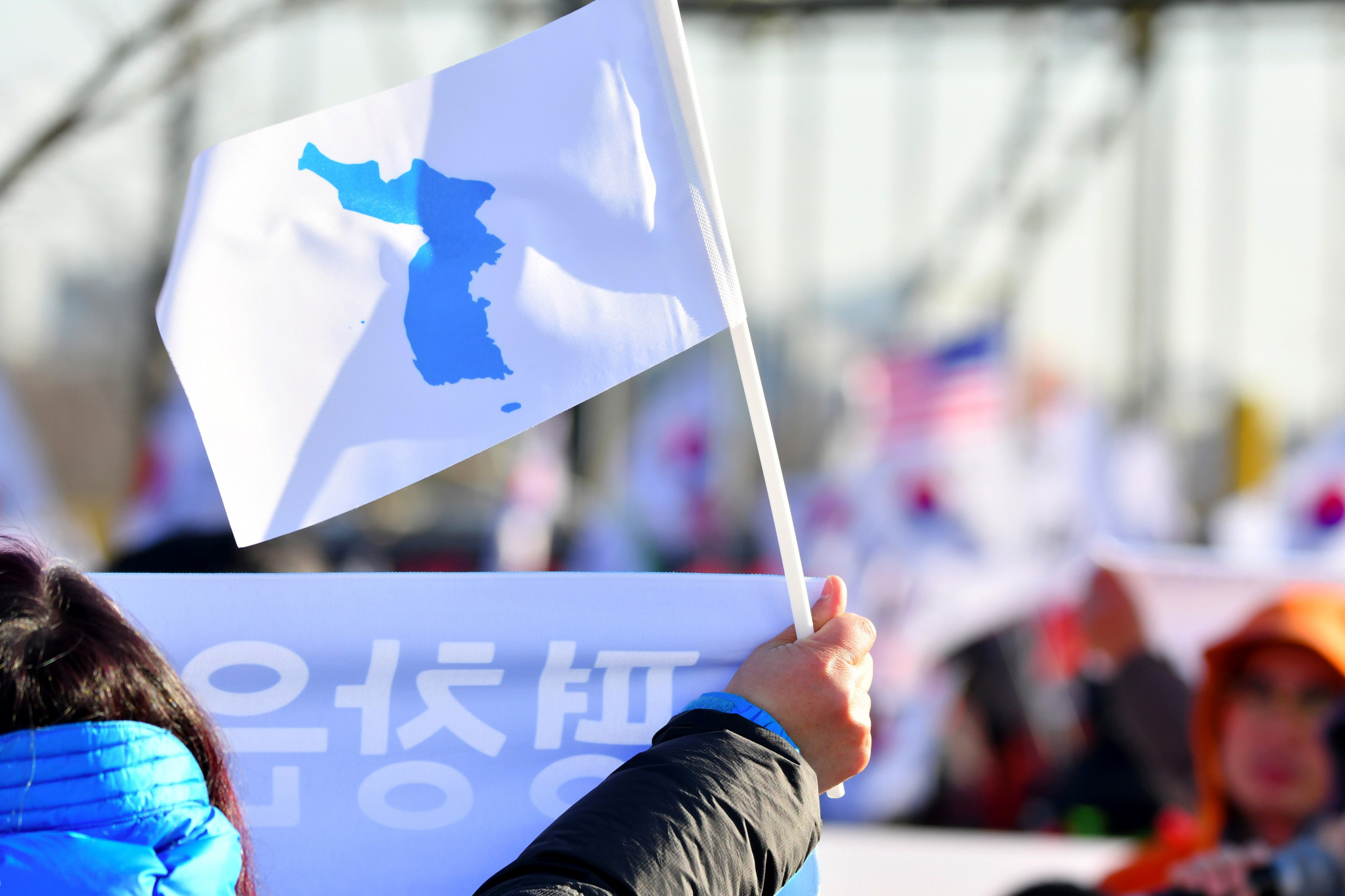 A spectator waving the unified Korean flag in Incheon yesterday before their women's ice hockey team played Sweden in a warm-up match for Pyeongchang 2018 ©Getty Images