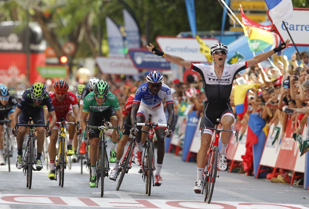 Stuyven defies injury to win as Sagan colides with motorbike on day of drama at Vuelta a España