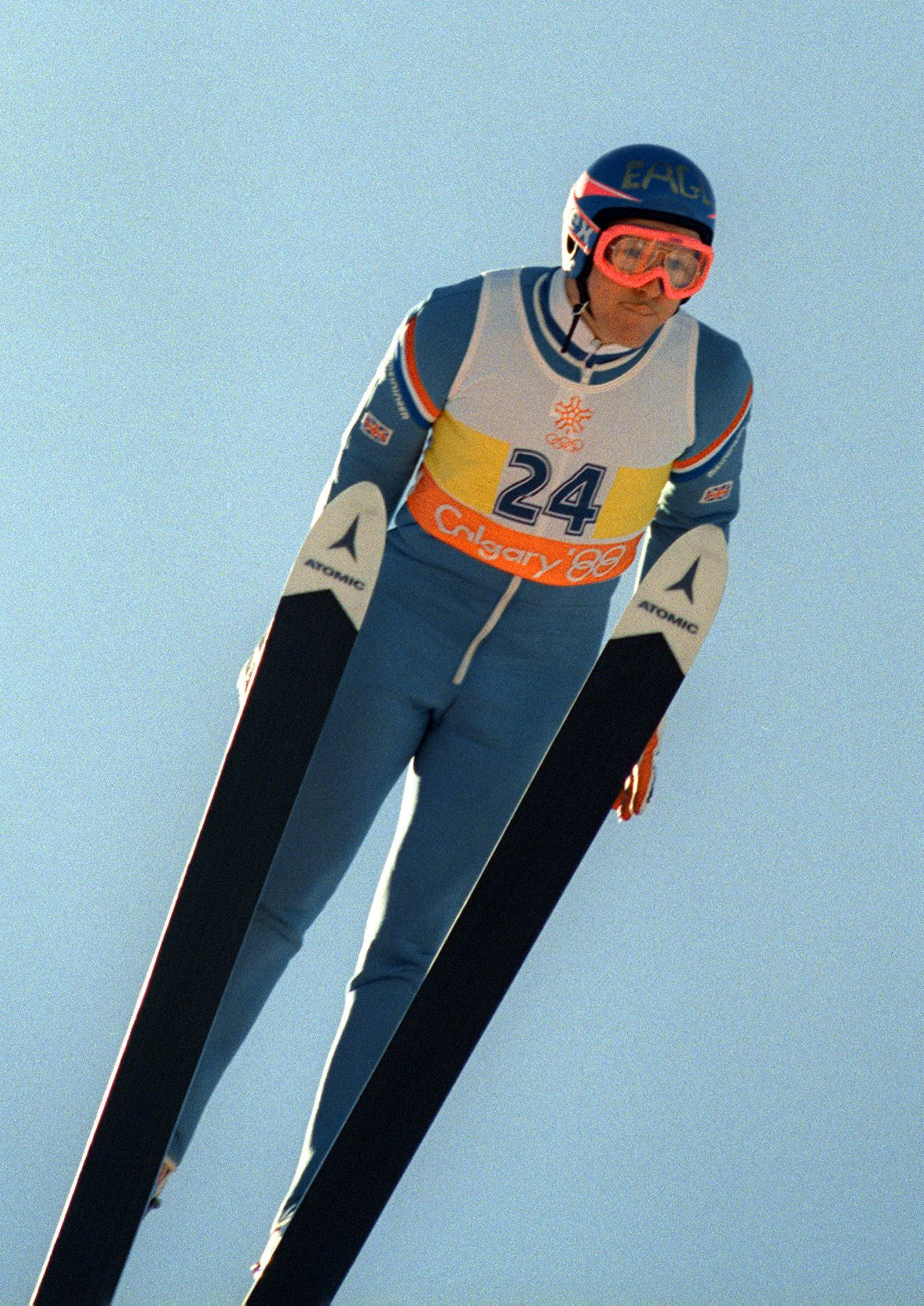 Eddie the Eagle in action at the Calgary 1988 Winter Olympics ©Getty Images
