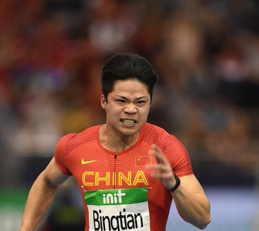 Su Bingtian lowered his Asian record again in Düsseldorf ©IAAF