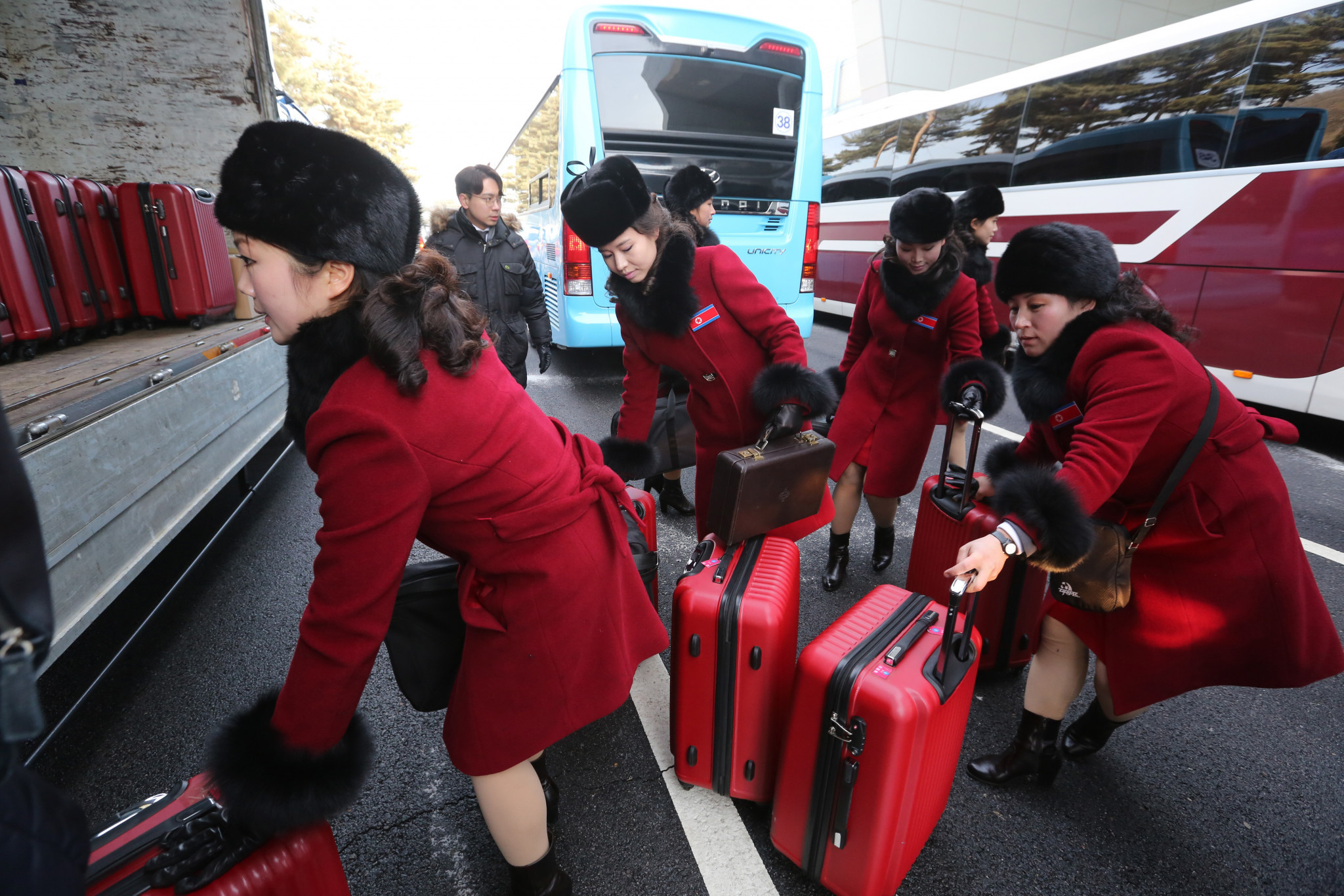 The cheerleaders who arrived over the border today were part of a delegation of 280 from North Korea to support their team during the Winter Olympics at Pyeongchang 2018