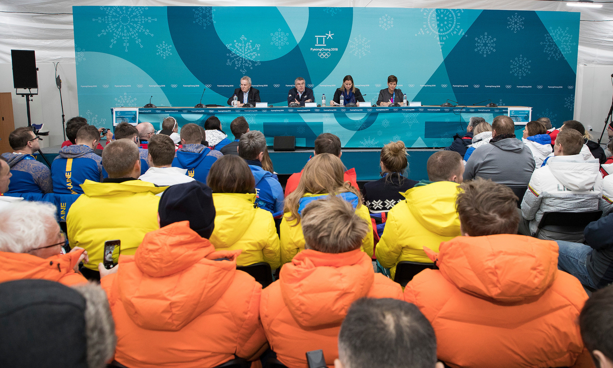 IOC officials including President Thomas Bach brief delegations in the Athletes' Village shortly before an alleged incident between a Canadian and Russian athlete ©IOC/Flickr