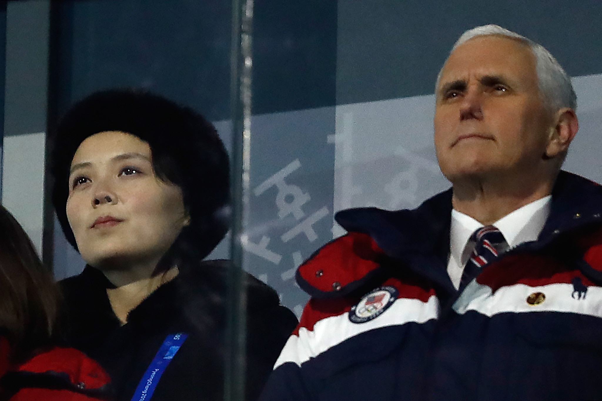 US Vice-President Mike Pence sat close to the sister of North Korean leader Kim Jong-un ©Getty Images