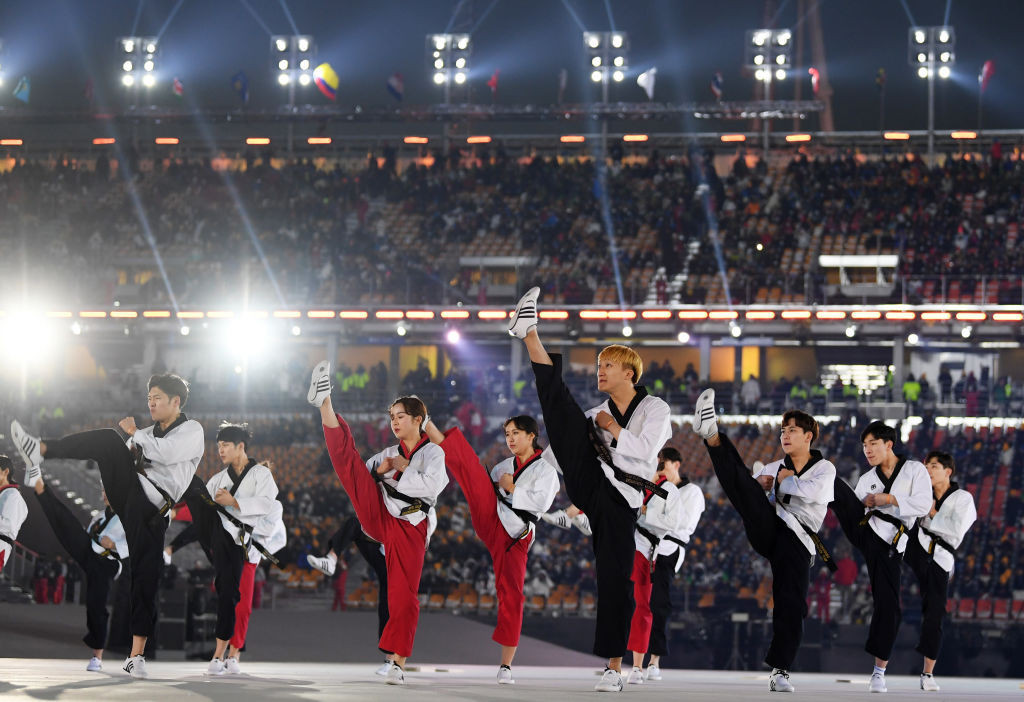 Demonstrators from both North and South Korea performed a series of routines before briefly joining together ©World Taekwondo