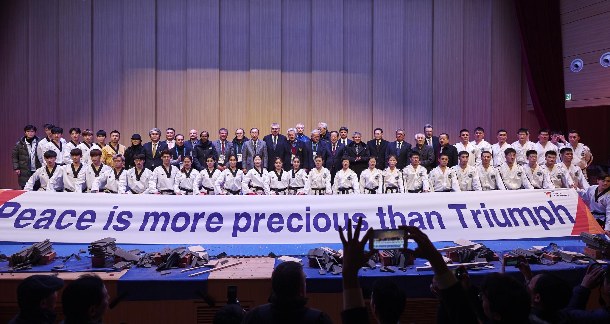 North and South Korean taekwondo players performed side by side ©World Taekwondo