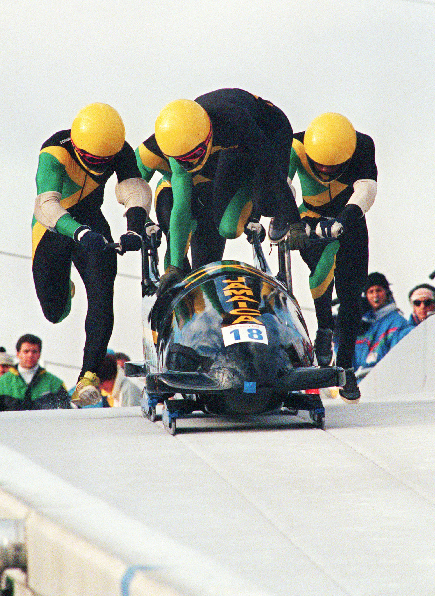 Jamaica's bobsleigh team get their Calgary 1988 Games challenge underway - they finished last, but they started something big...including a cult Hollywood move Cool Runnings ©Getty Images