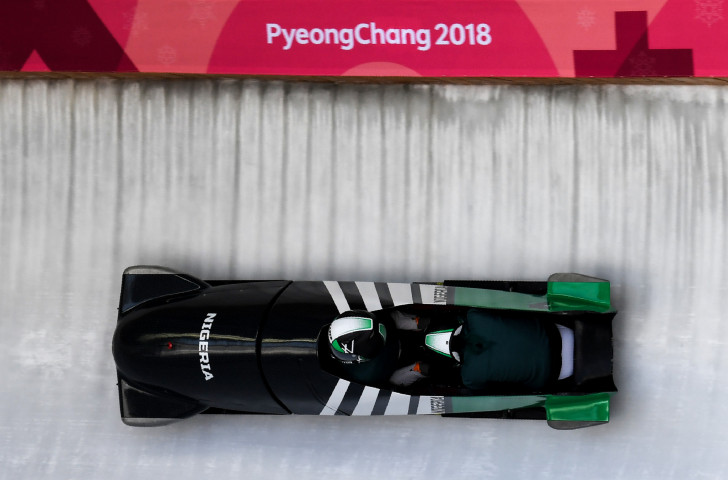 The Nigerian women's sled gets underway in early practice at Pyeongchang 2018 ©Getty Images