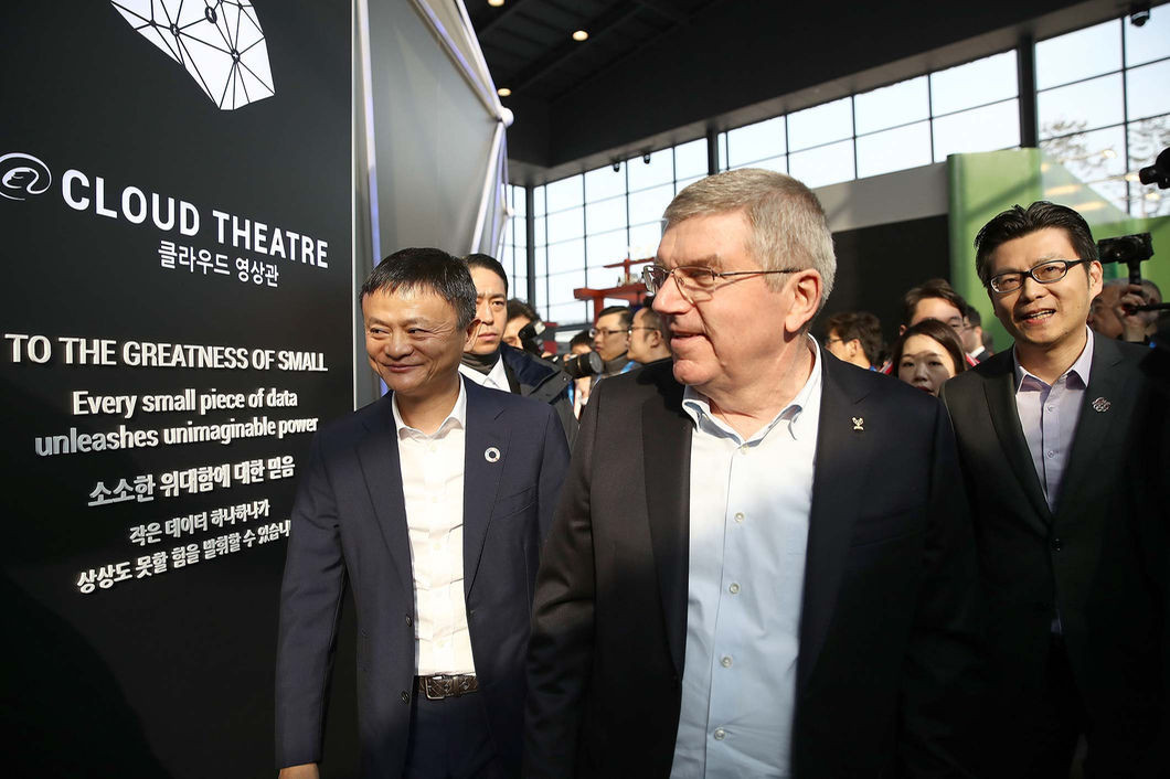 Alibaba founder Jack Ma, left, alongside IOC President Thomas Bach at the opening of the new