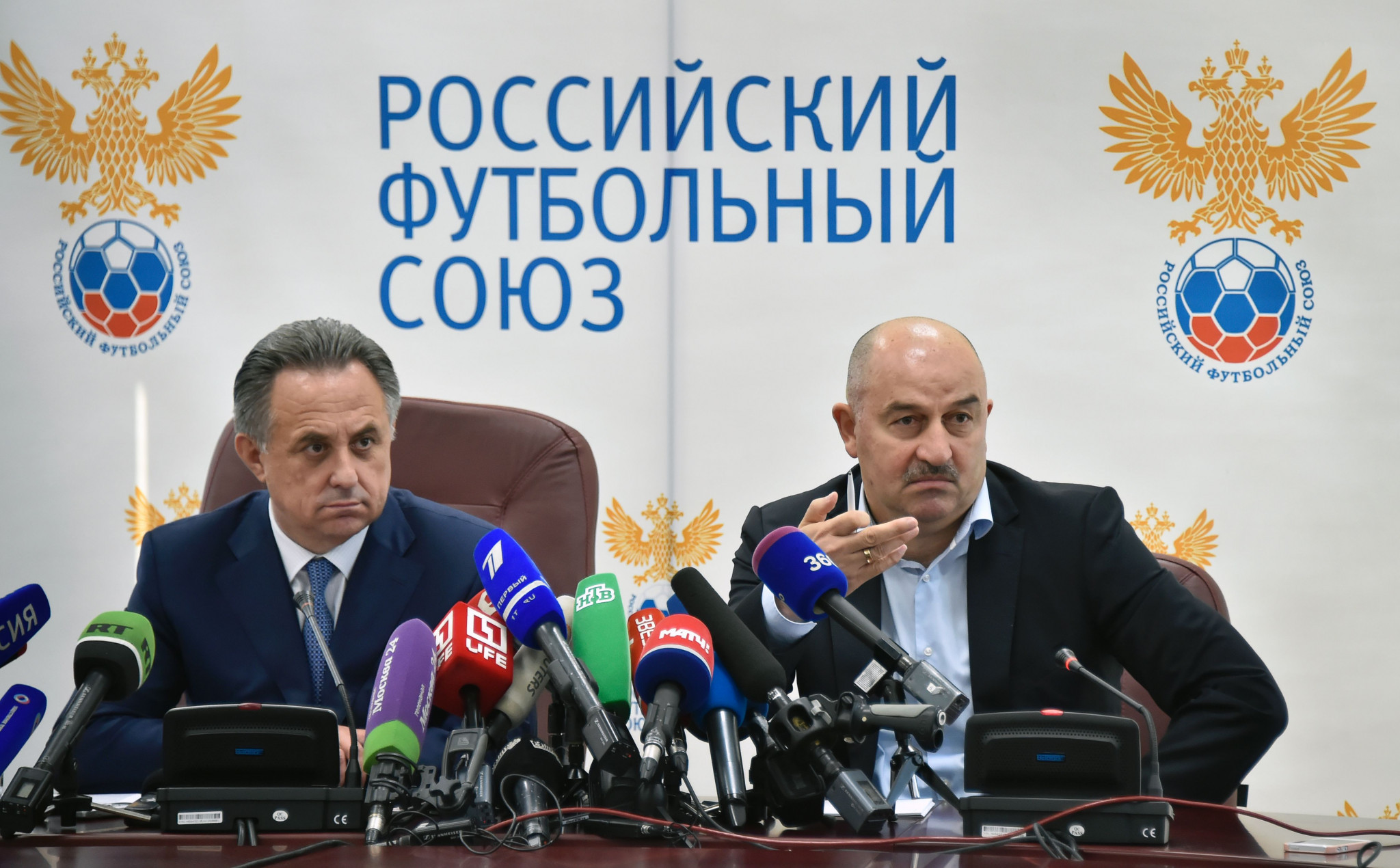 Vitaly Mutko, left, resigned from his role as President of the Russian Football Union to fight his lifetime Olympic ban given to him by the IOC following publication of the McLaren Report ©Getty Images