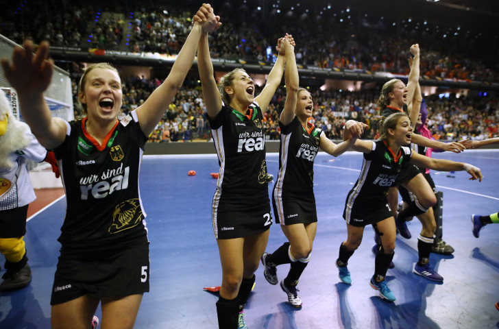 Germany's women celebrate a 2-1 win over defending champions Netherlands in the Indoor Hockey World Cup final in Berlin ©Getty Images
