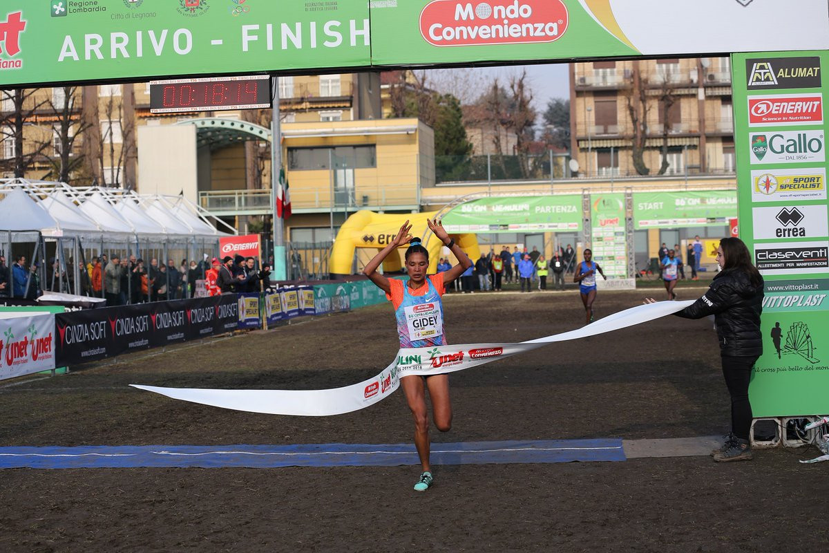 Ethiopia's world under-20 cross country champion Letesenbet Gidey won the IAAF Cross Country Permit Race at San Vittore ©Twitter