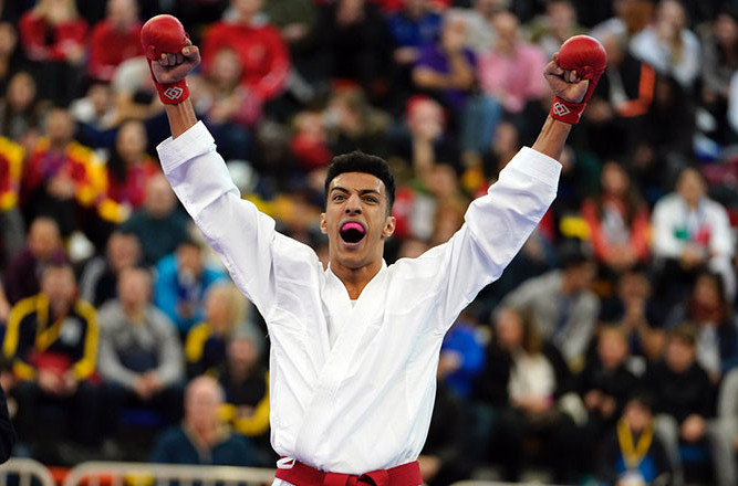 Samy Ennkhaili Anqoud earned a highly popular home win, one of two Spanish gold medals, along with Laura Palacio, on the concluding day, at the Karate 1-Series A in Guadalajara ©WKF