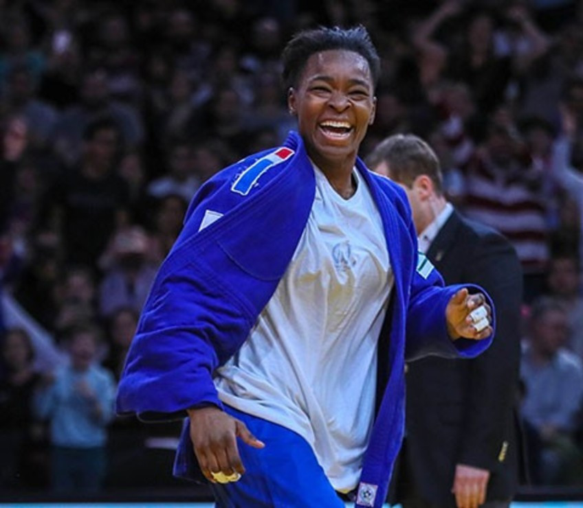 Frances Audrey Tcheumeo has the AccorHotels Arena in Paris in uproar as she wins her country's second gold medal of the weekend in the women's under 78kg final  ©IJF