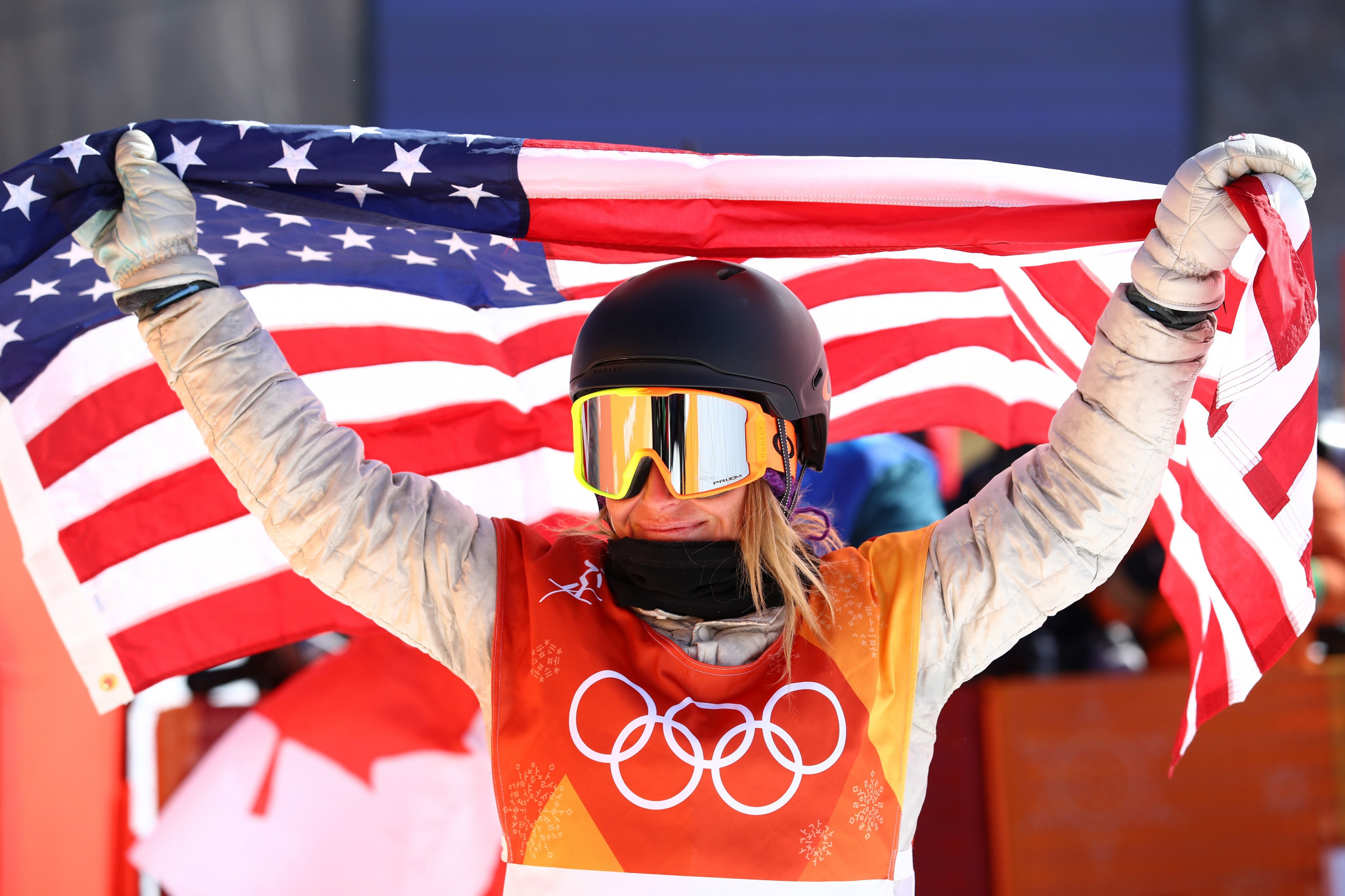 The United States' Jamie Anderson retained her Olympic women's slopestyle snowboarding title amid difficult conditions at Pyeongchang 2018 today ©Getty Images