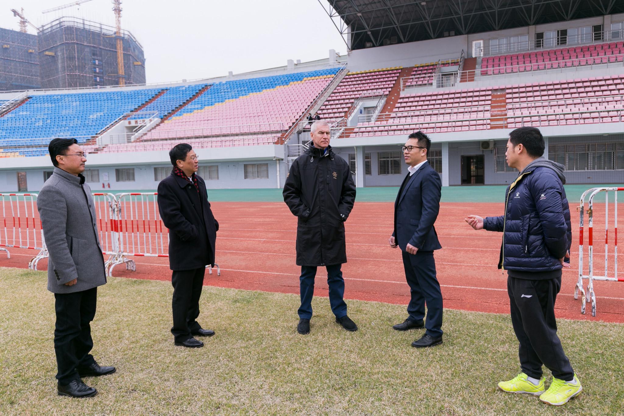 FISU President Oleg Matytsin, centre, visited potential venues for the tournament in Jinjiang ©FISU