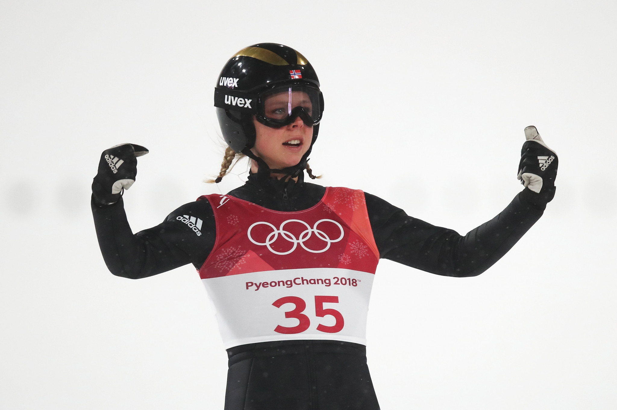 Norway's Maren Lundby continued her sensational form by claiming the women's normal hill individual ski jumping gold medal at the Pyeongchang 2018 Winter Olympic Games here this evening ©Getty Images