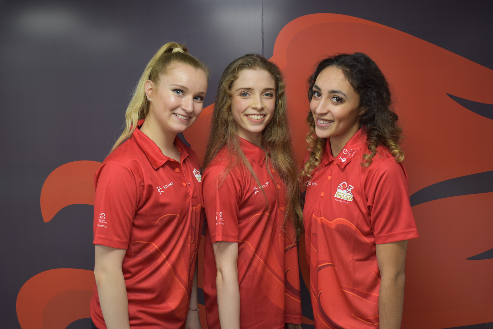 Stephani Sherlock, Hannah Martin and Mimi Cesar will represent England in rhythmic gymnastics at Gold Coast 2018 ©Commonwealth Games England