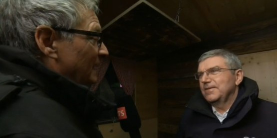 Thomas Bach, right, told Swiss broadcaster RTS he is hopeful Sion 2026 will win its referendum ©RTS