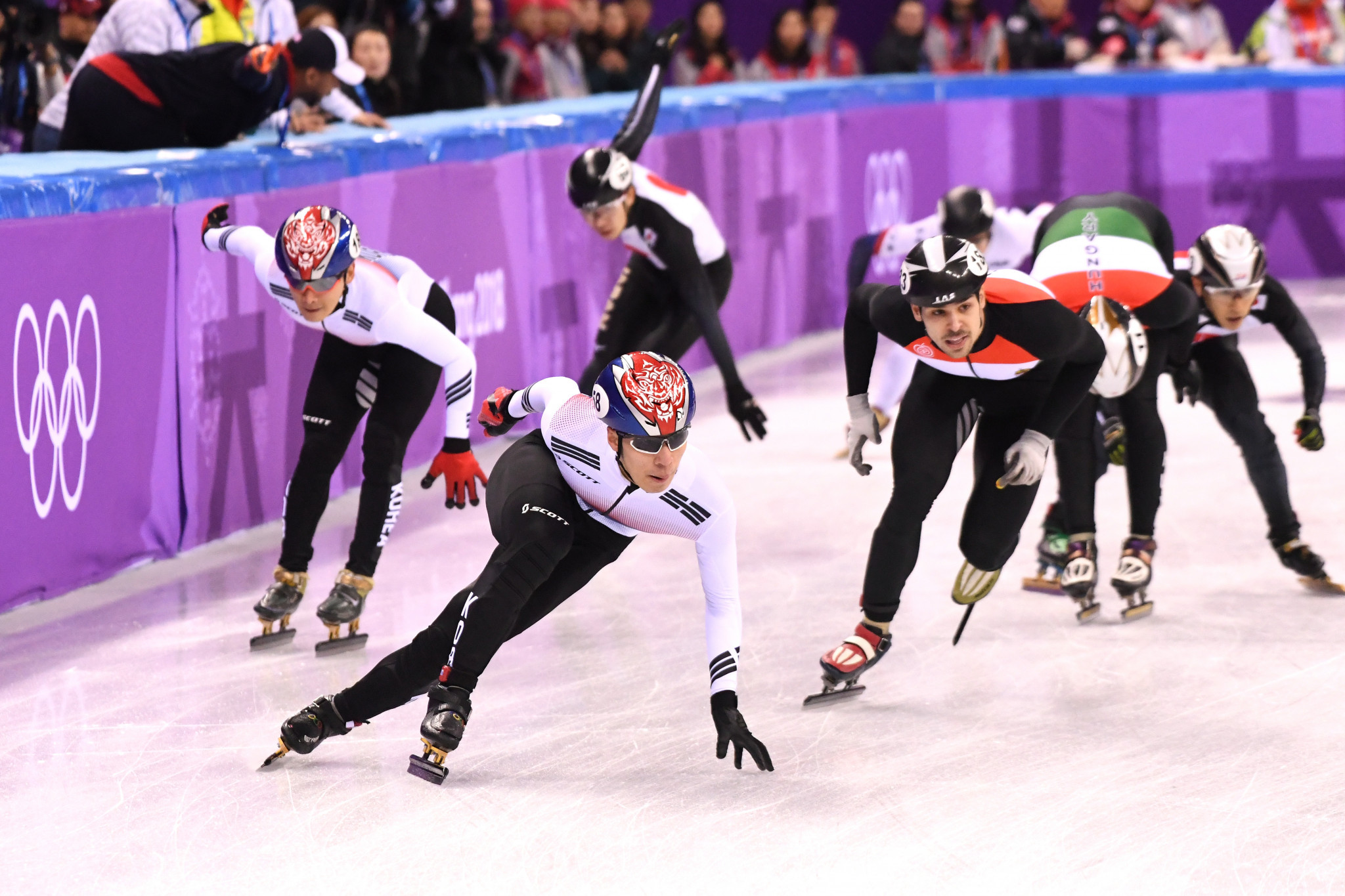 There were thrills and spills in the short-track speed skating relay today ©Getty Images