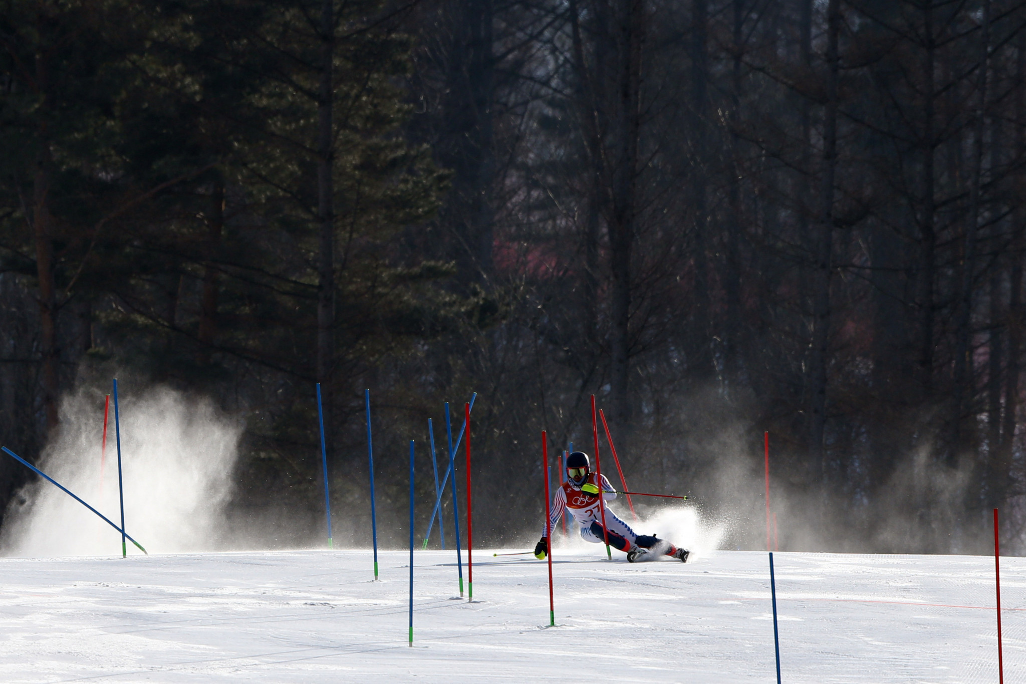 Powder is kicked off the snow in the slalom run of the Alpine combined ©Getty Images