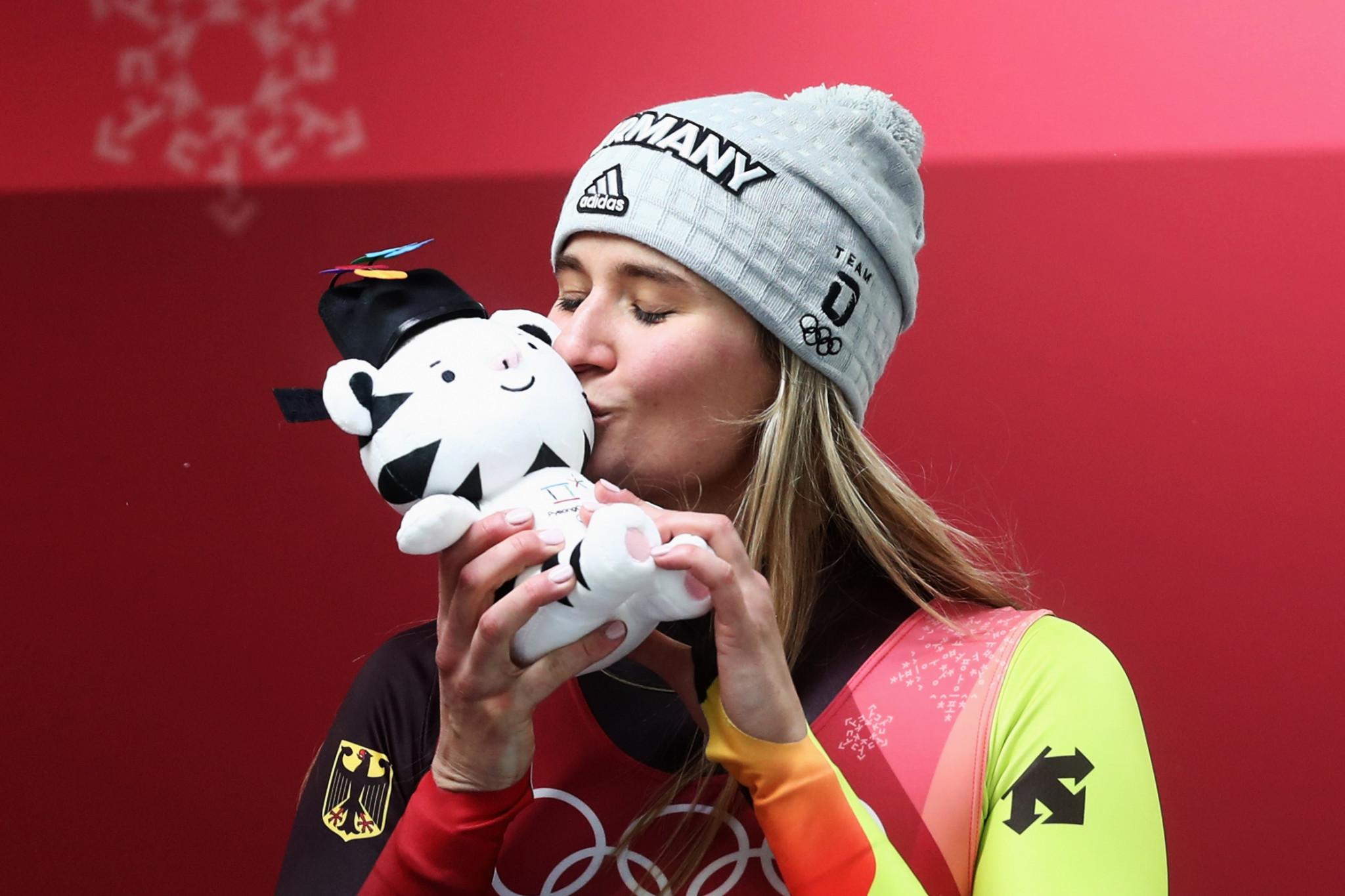 Natalie Geisenberger celebrates her luge victory ©Getty Images