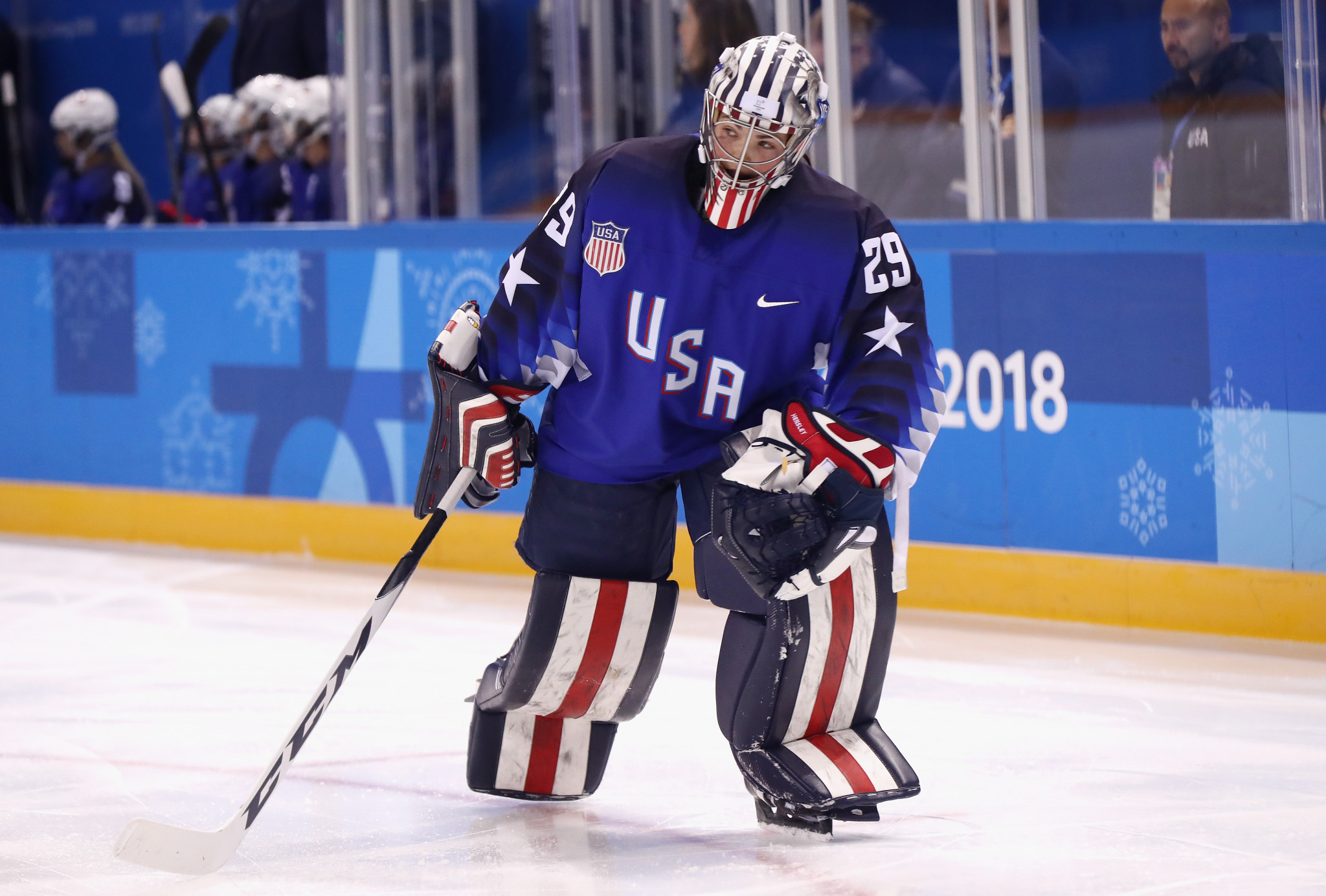 American goaltender Nicole Hensley started the match against the OAR team today at Pyeongchang 2018 and was allowed to wear a helmet with the Statue of Liberty on it ©Getty Images