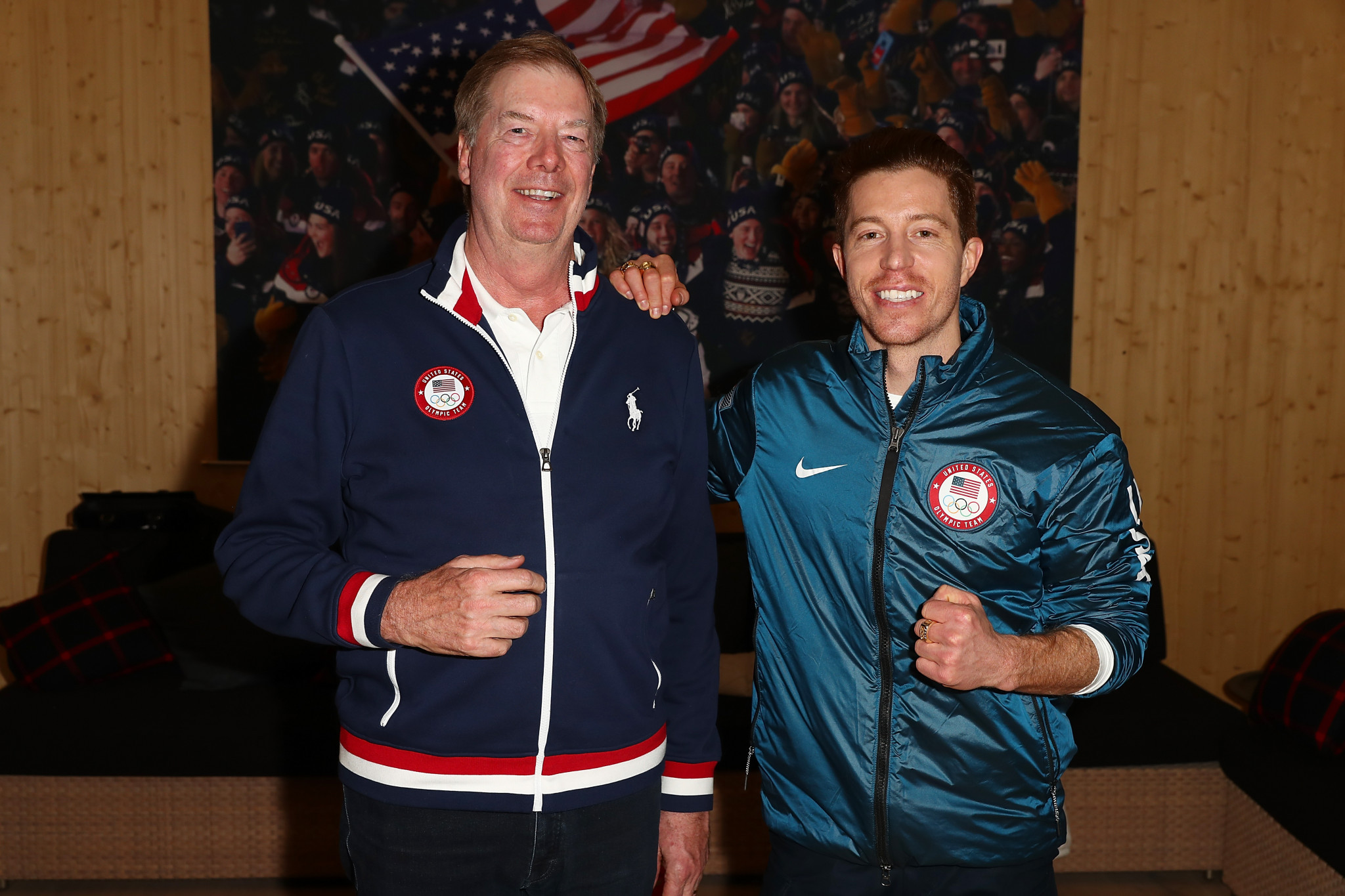 USOC chair Larry Probst was among those to join the celebrations with Shaun White ©Getty Images