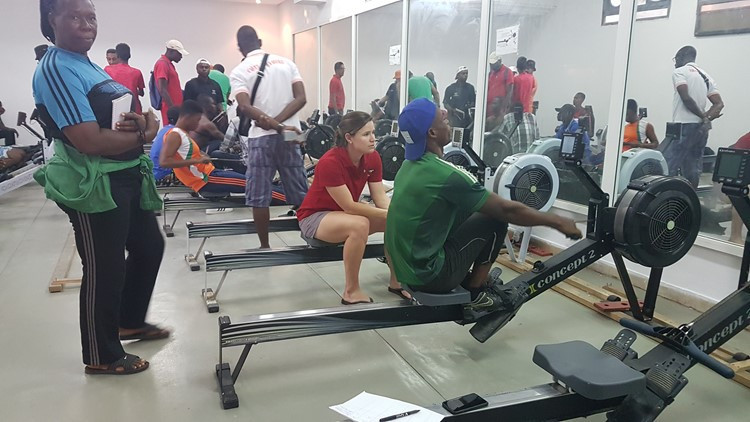Micheen Thornycroft, centre, with the Nigerian rowing team at the African Rowing Championships ©FISA