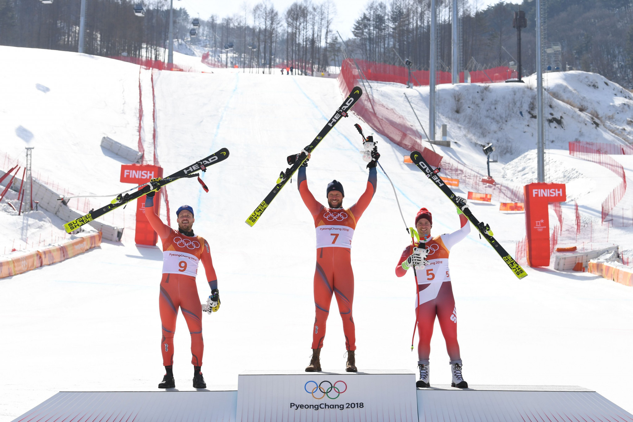 Aksel Lund Svindal topped the podium to claim his second Olympic downhill title ©Getty Images