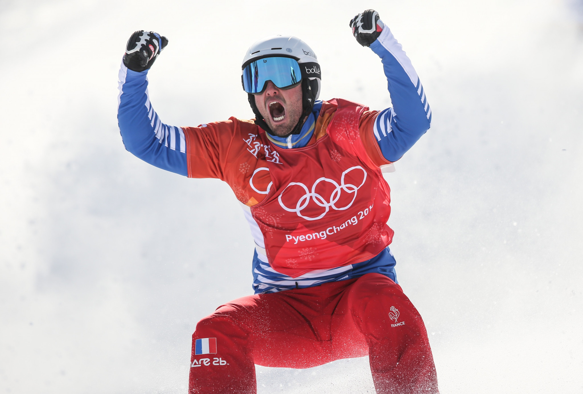 France's Pierre Vaultier successfully defended his men's snowboard cross Olympic title after coming out on top on a challenging day at Pyeongchang 2018 ©Getty Images