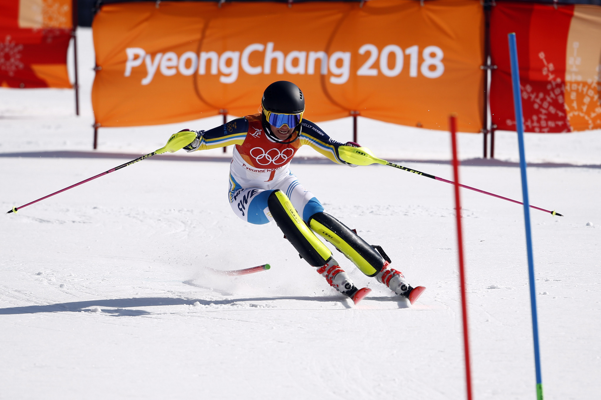 Hansdotter chooses perfect moment for first major gold medal with victory in women's slalom at Pyeongchang 2018