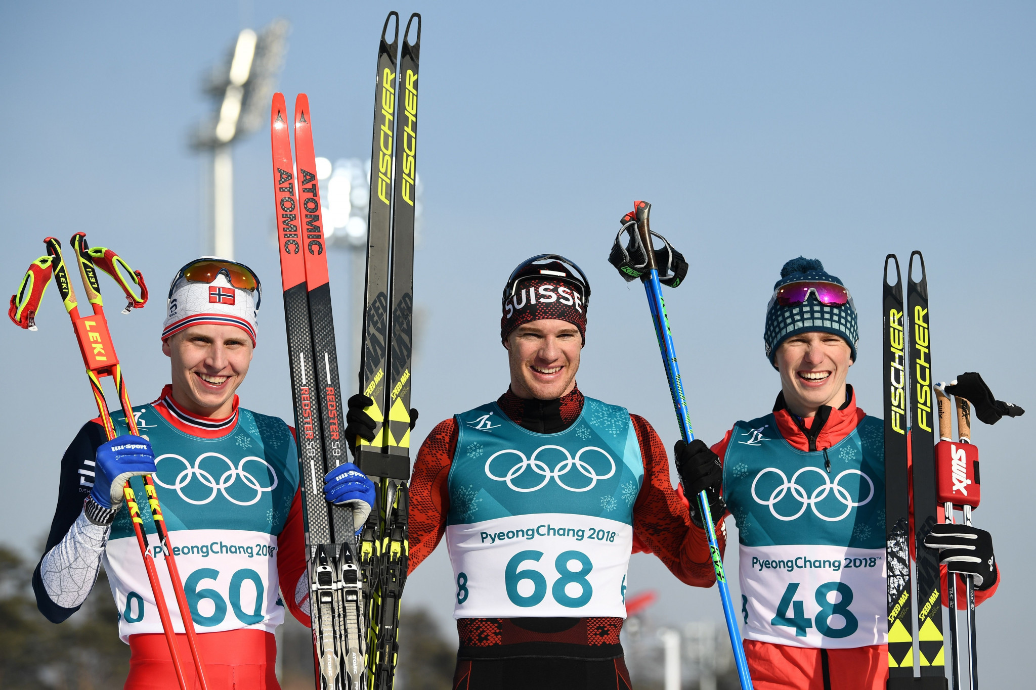 The three medal winners pose following the race today ©Getty Images