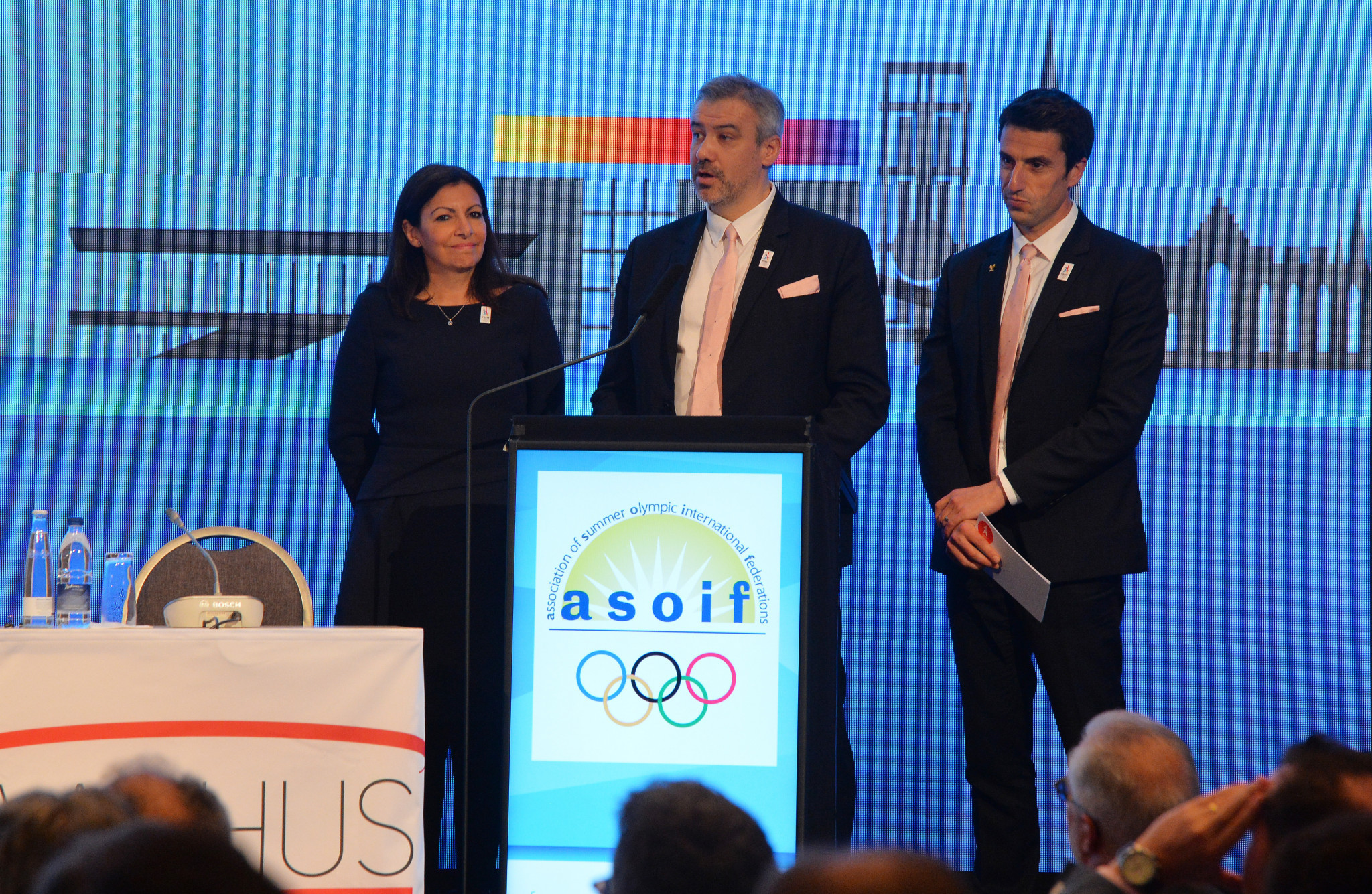 Paris 2024 President Tony Estanguet, right, and chief executive Etiene Thobois, second right, will conduct interviews to find key staff for the French capital's Organising Committee ©Getty Images