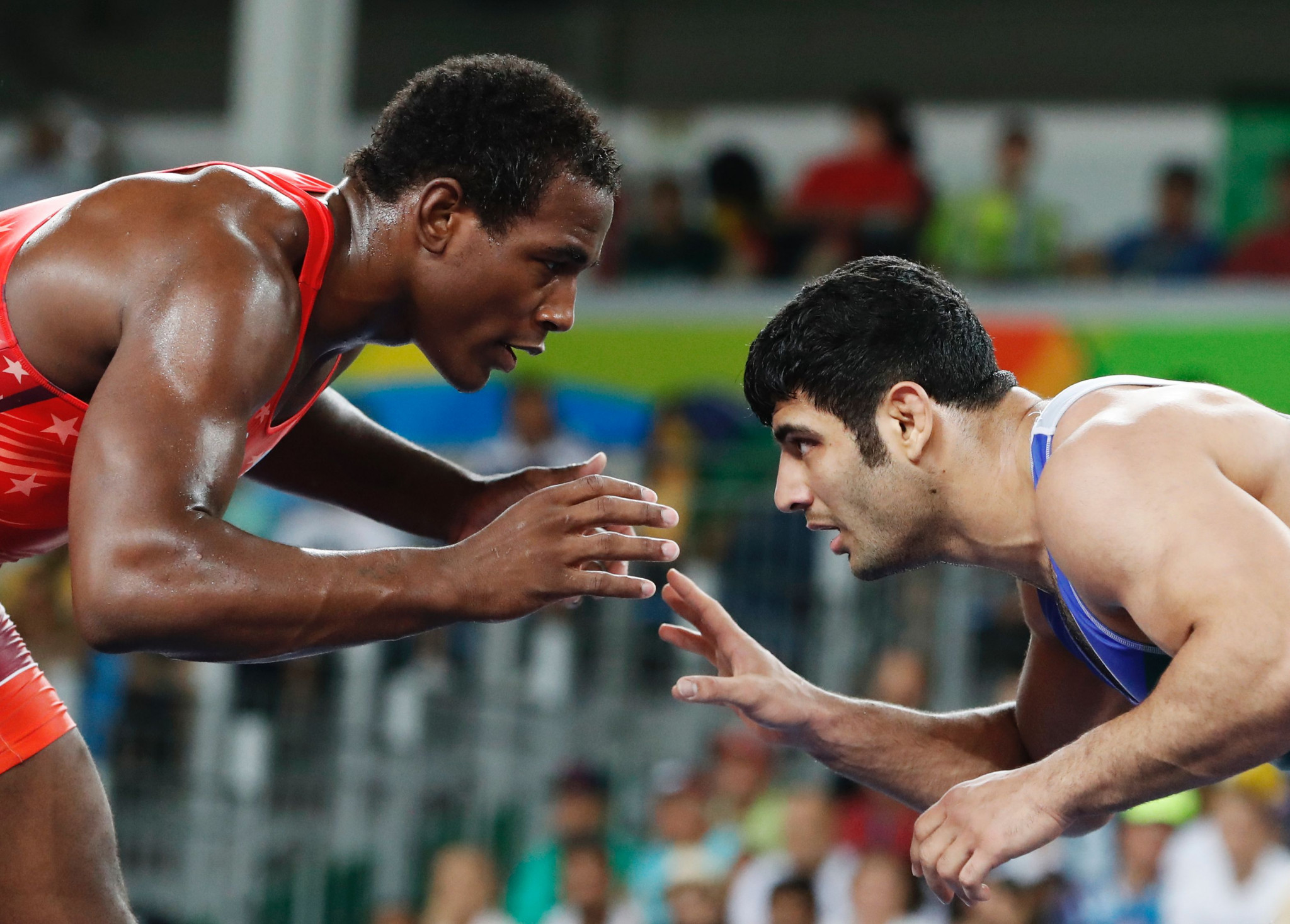 Alireza Karimi, right, is a two-time Asian champion and a World Championship bronze medallist ©Getty Images