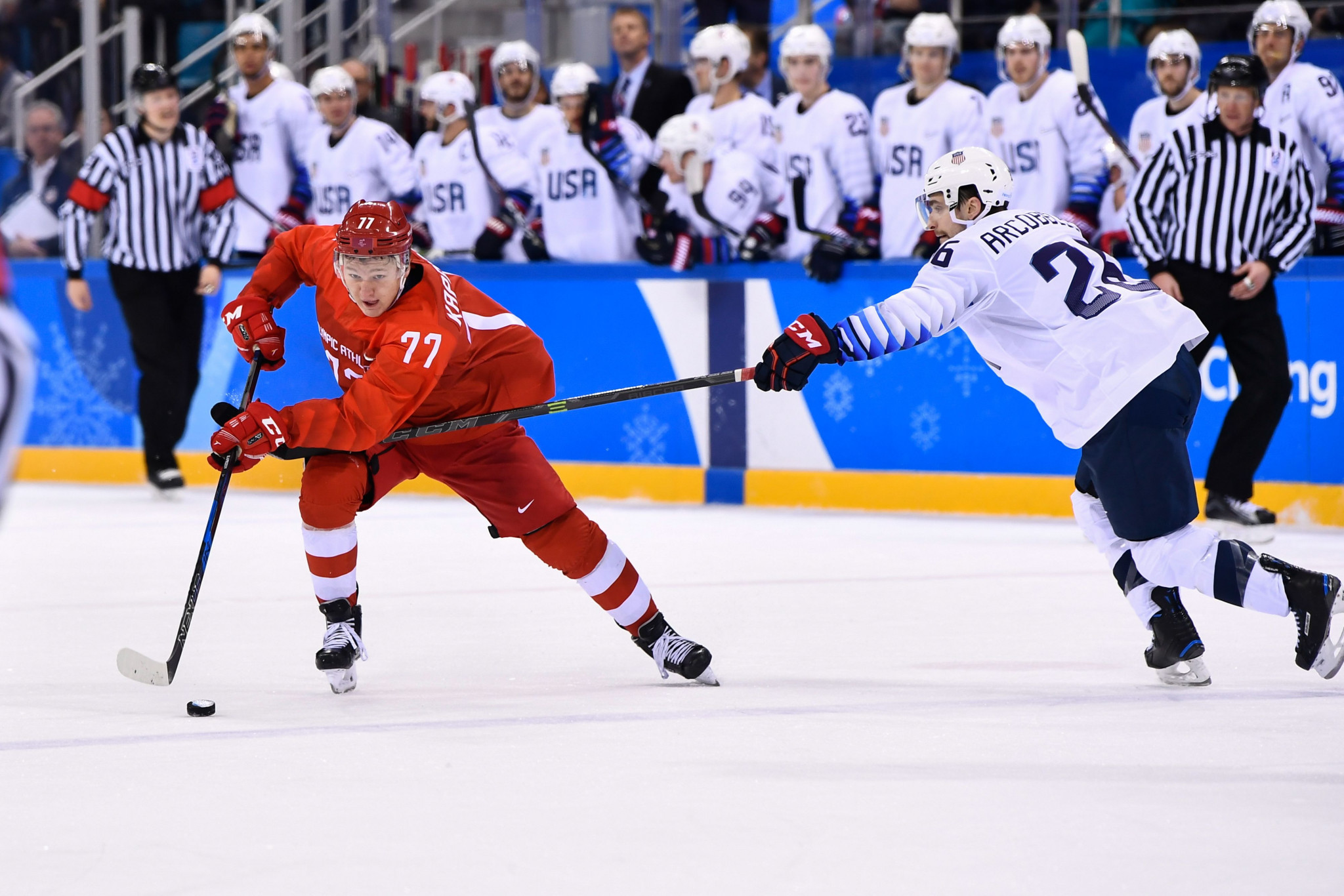 The Olympic Athletes from Russia thrashed United States today in ice hockey ©Getty Images