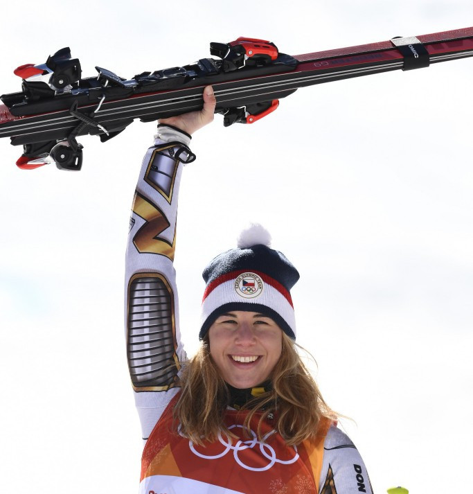 Ester Ledecká celebrates her stunning super-G success ©Getty Images