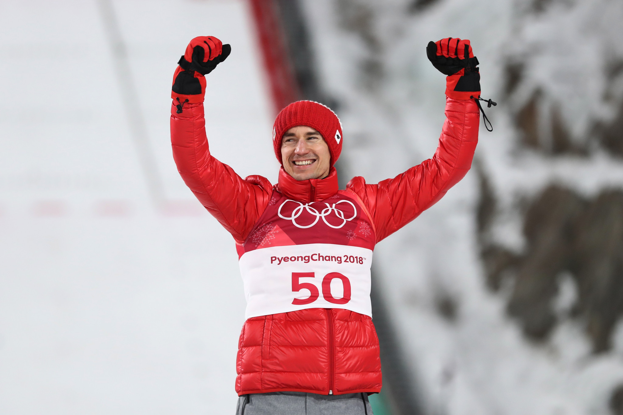 Polish ski jumper Kamil Stoch successfully defended his Olympic men's large hill individual title today with an assured display at Pyeongchang 2018 ©Getty Images
