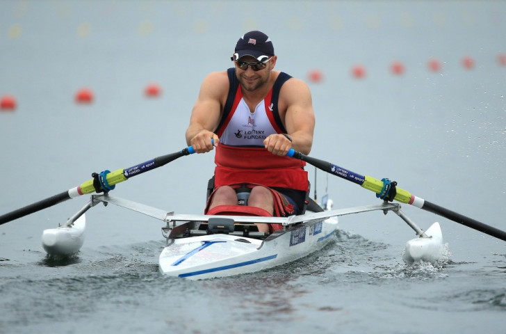 Great Britain's Tom Aggar won the first heat in the Arms and Shoulders Para-men's singles skulls