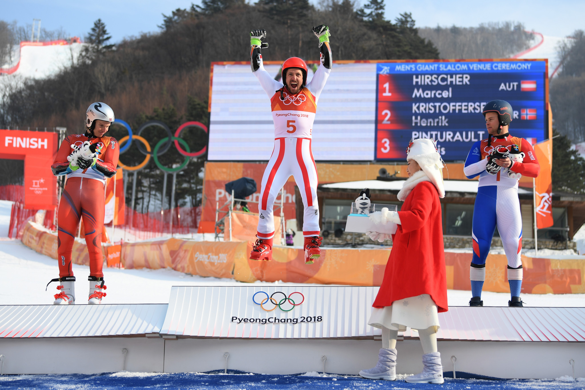 Marcel Hirscher dominated both runs to finish at the top of the podium for the second time at Pyeongchang 2018 ©Getty Images