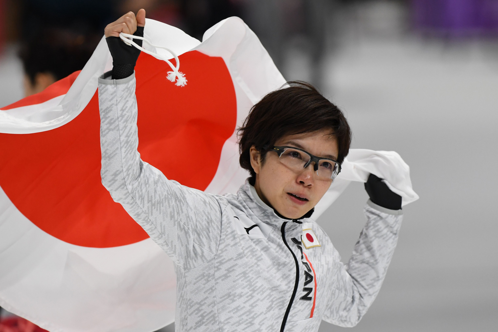 Nao Kodaira celebrates victory in the 500m speed skating ©Getty Images