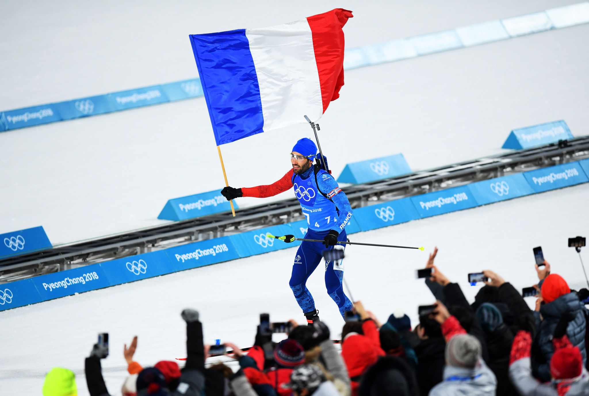 Martin Fourcade claimed relay gold for France ©Getty Images