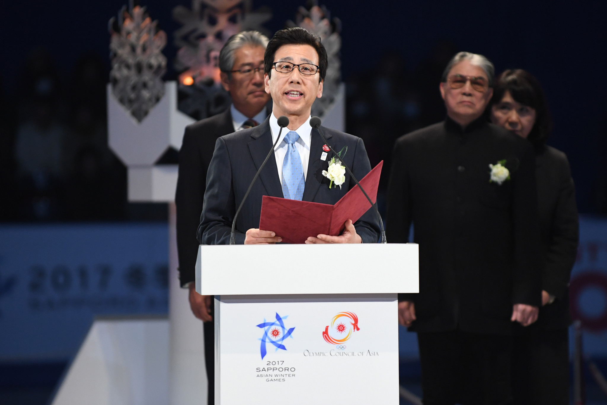 Sapporo Mayor Katsuhiro Akimoto pictured speaking at the Closing Ceremony of last year's Asian Winter Games ©Getty Images