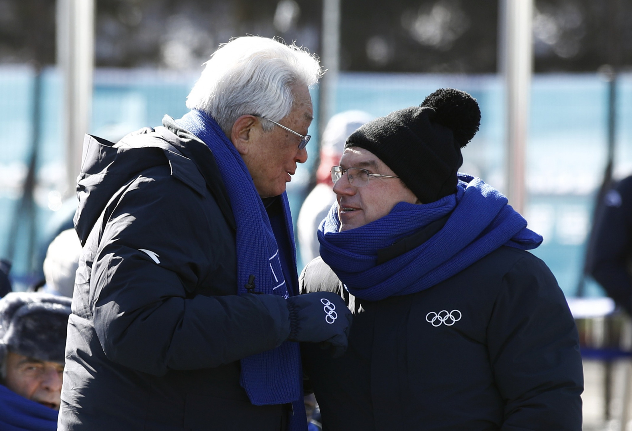 Chang Ung, left, pictured with IOC President Thomas Bach at Pyeongchang 2018 ©Getty Images