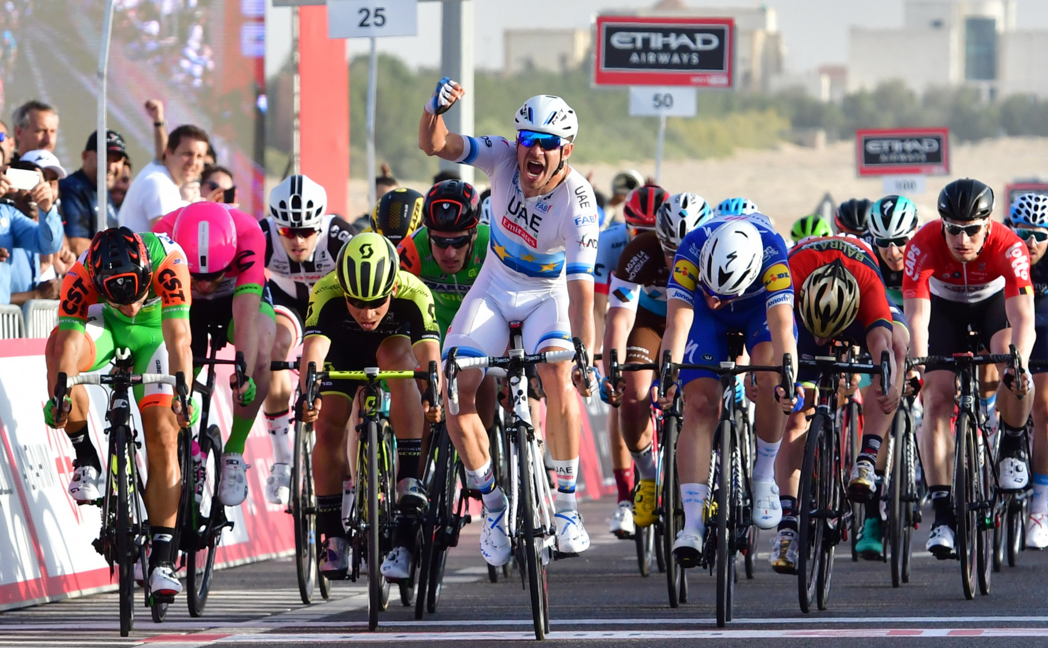 Kristoff wins first stage of Abu Dhabi Tour as Cavendish crashes out