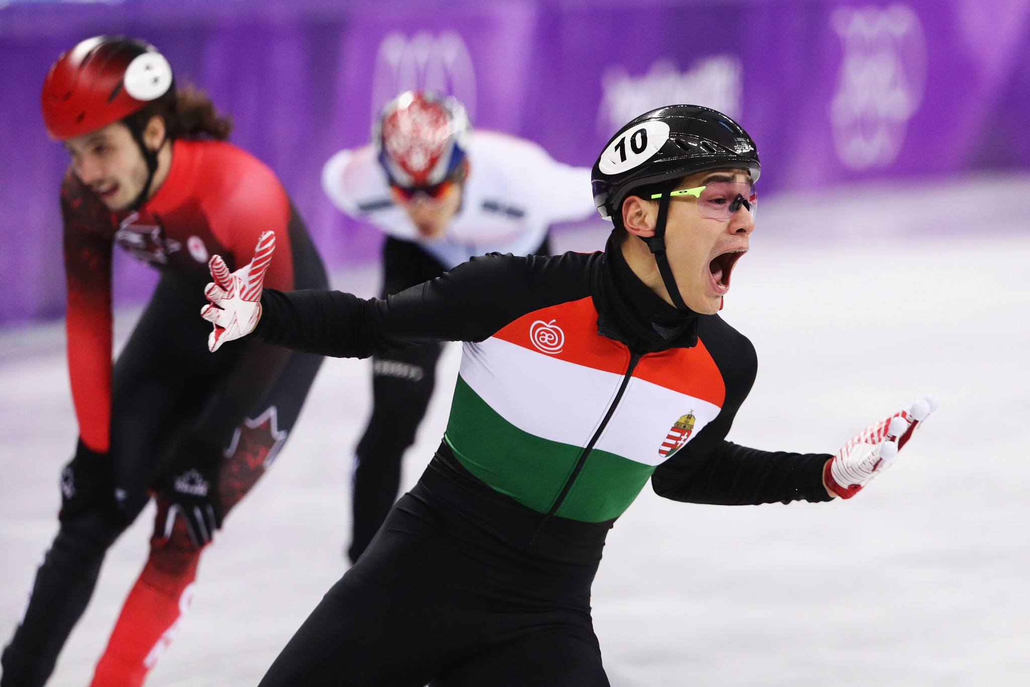 Shaoang Liu, Shaolin Sandor Liu, Viktor Knoch and Csaba Burján claimed Hungary's first Winter Olympic Games short track gold medal ©Getty Images