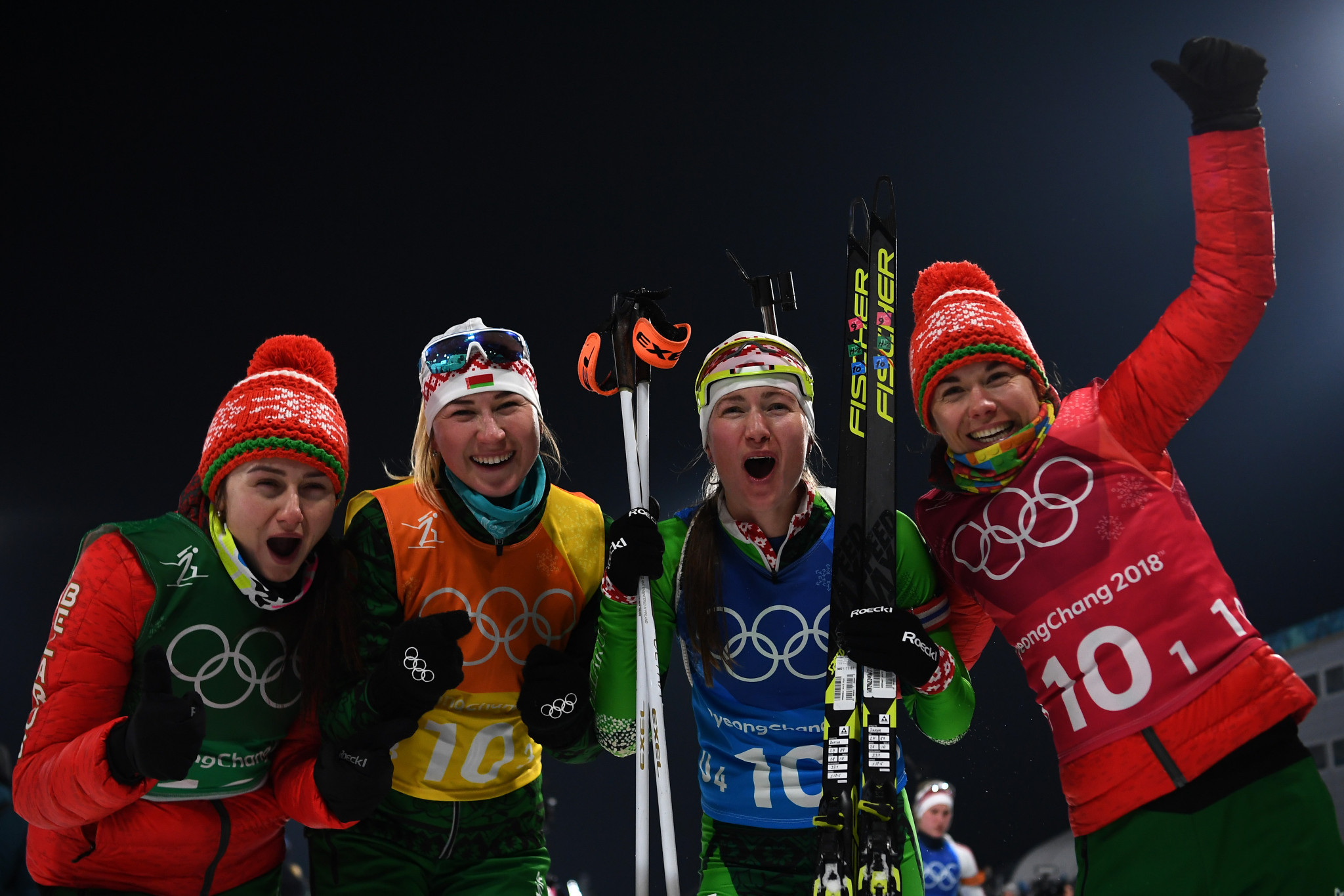 The victory for Belarus was the country's first in the women's relay at the Winter Olympics ©Getty Images