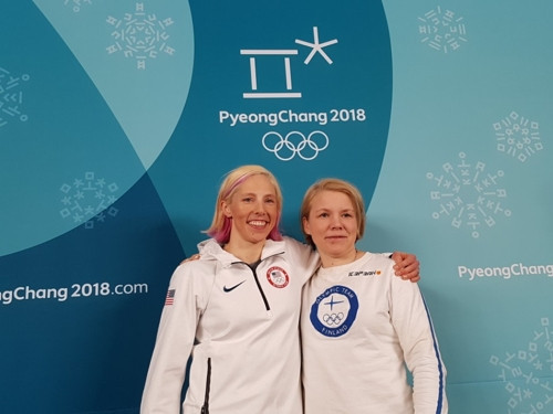 Finnish ice hockey player Emma Terho, right, and American cross-country skier Kikkan Randall, left, have been elected members of the IOC Athletes' Commission ©IOC