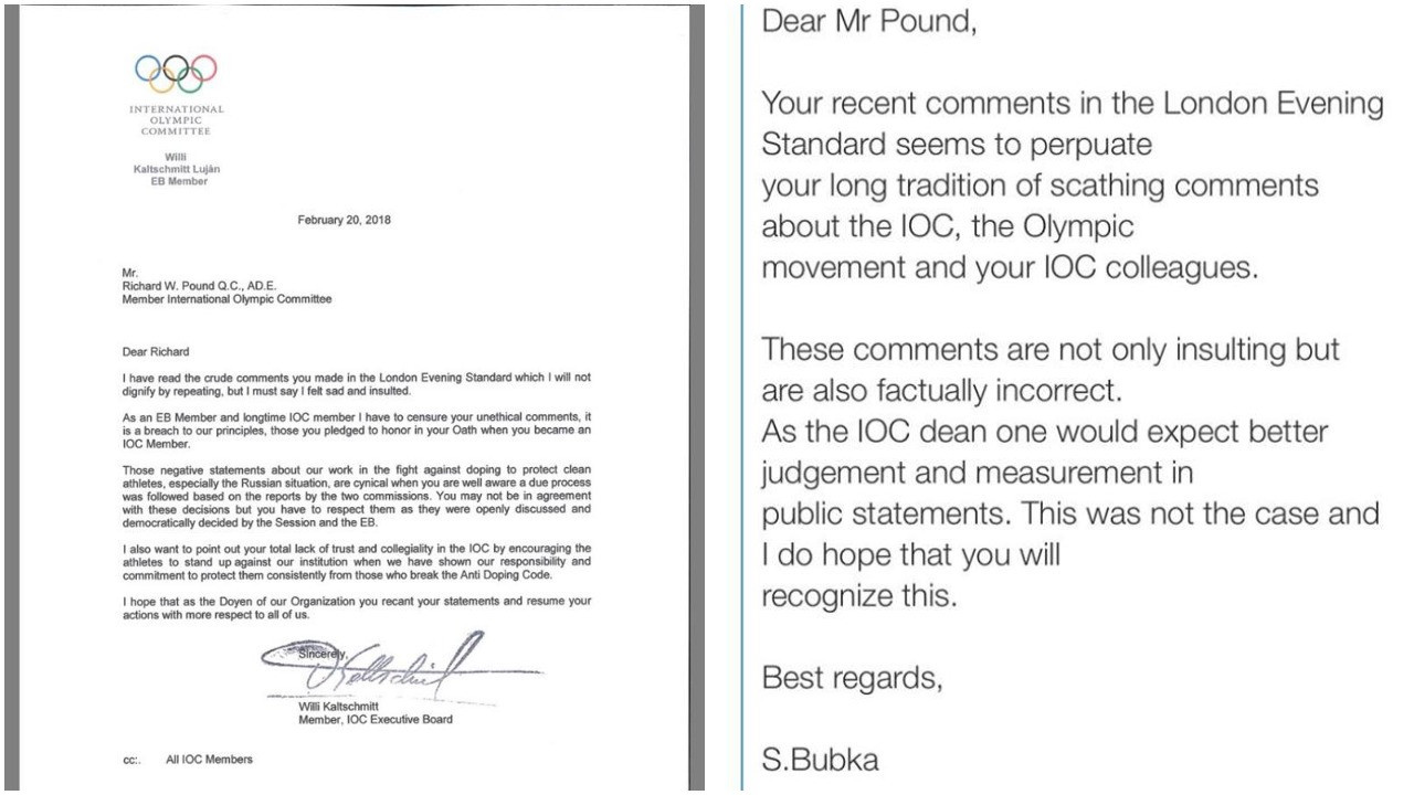 Letters and emails have been sent criticising Richard Pound to the entire IOC membership by Ukraine's Sergey Bubka and Guatemala's Willi Kaltschmitt Luján following his comments in the Evening Standard ©ITG