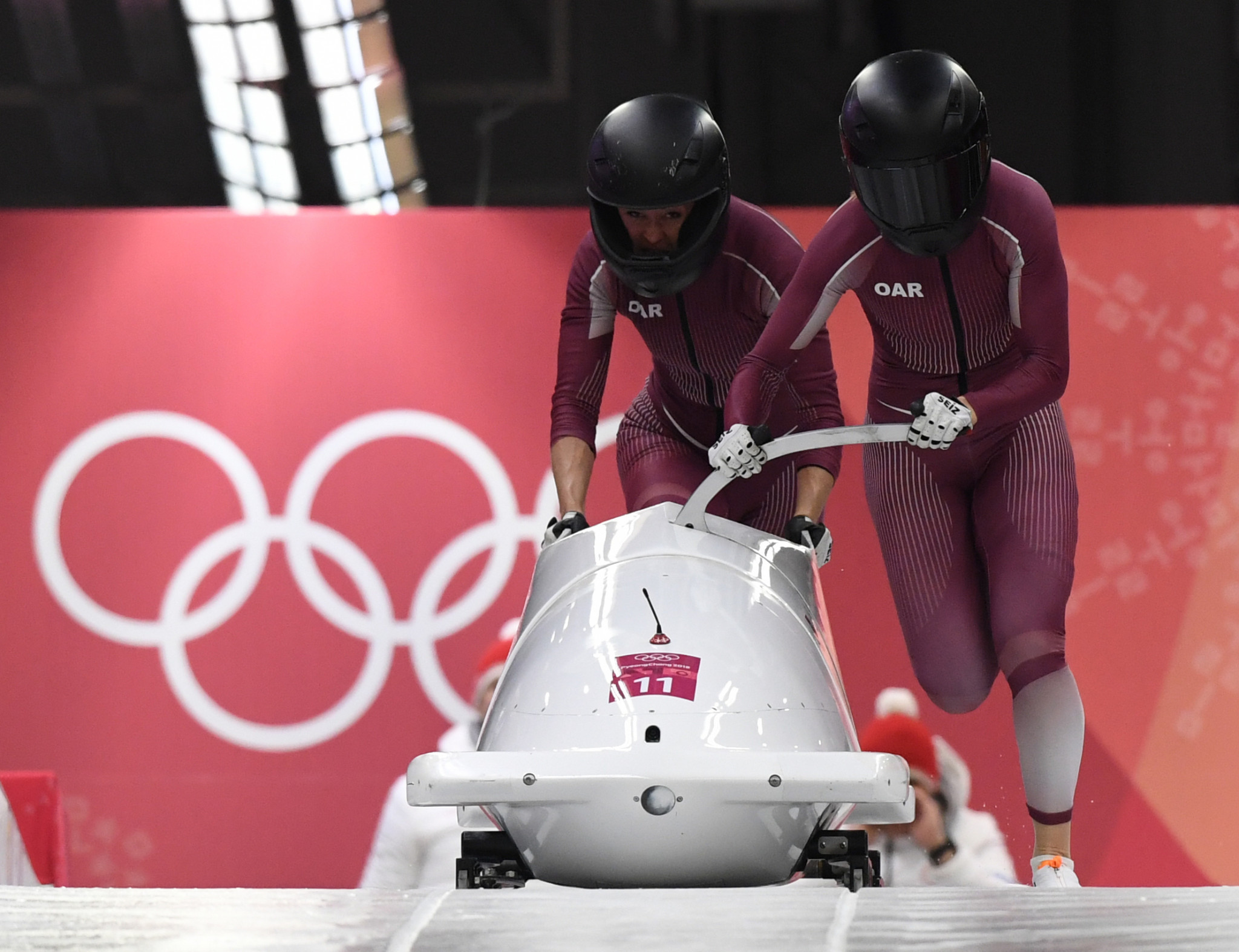 Olympic Athletes from Russia's Nadezhda Sergeeva, right, and her partner Anastasia Kocherzhova, left, finished 12th in the two-woman bob at Pyeongchang 2018 but it has now emerged that the former has tested positive ©Getty Images