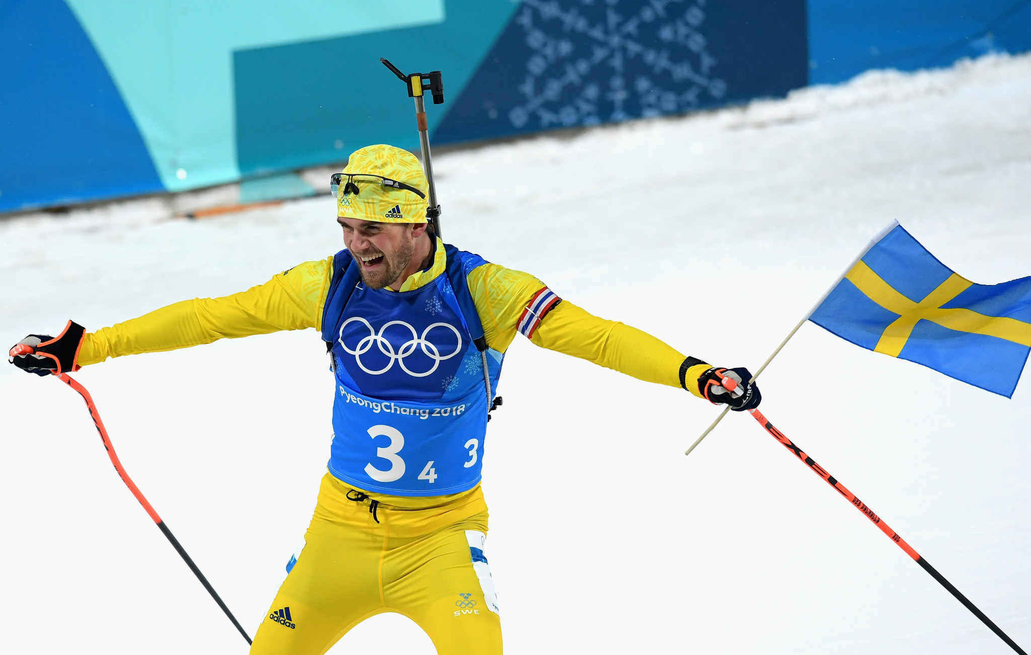 Fredrik Lindström anchored Sweden to a surprise victory in the men's 4x7.5 kilometres relay ©Getty Images